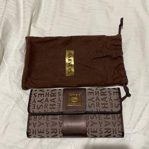 Harveys rare brown on brown tri fold wallet nwot
